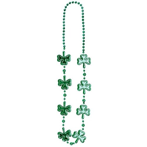 Wee willy St. Patrick's Day Party Electroplated Shamrock Bead Necklace , Green, Plastic , 36