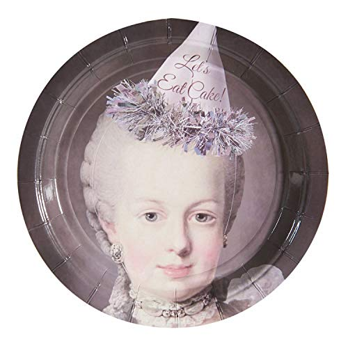 Queens Plain Cake Plate - What On Earth Marie Antoinette Cake Plates - Funny Queen of France Disposable Paper Party Platters - 20 Count