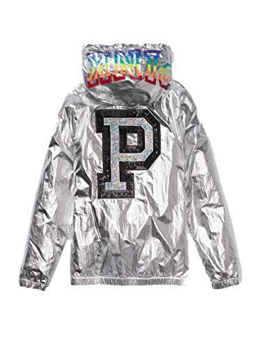 Victoria's Secret Jacket Full Zip Campus Hoodie Anorak Metallic Foil Fashion Show Medium/Large -