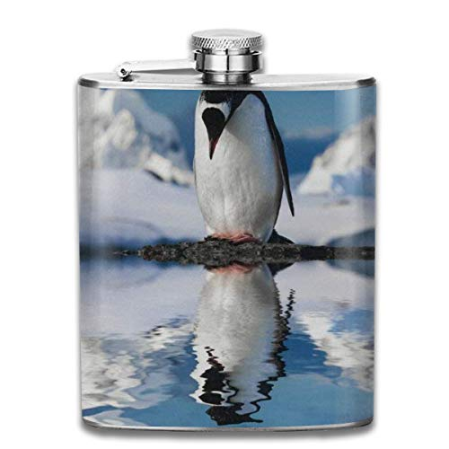 Zeajant Stainless Steel Flask, Whiskey Flask Vodka Alcohol Flask Cute Penguin On Summer Portable Pocket Bottle, Bag Bottle, Camping Wine Bottle, Suitable For Men And Women 7oz ()