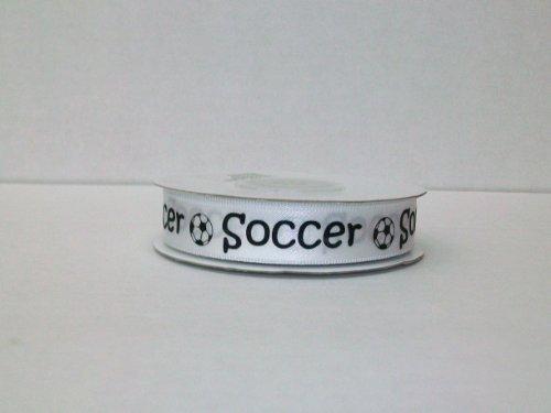Soccer Printed Satin Ribbon (5/8 Inch 25 Yards)