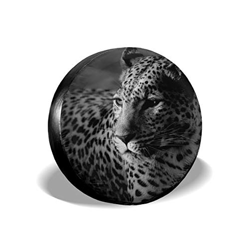 Spare Tire Cover, Lonely African Leopard Printing Wheel Protectors PVC Waterproof Dustproof for Jeep Trailer SUV RV and Many Vehicles(14,15,16,17 Inch) -