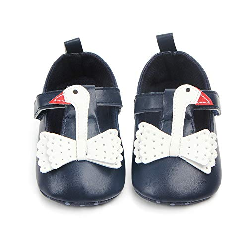 Animal Swan Black and White Leather Shoes for Baby Girl prewalking Shoe with Soft Non-Slip Sole Toddler,Blue,0-6 Months