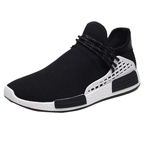 kaifongfu Men's Breathable Sneakers Shoes Lightweight Lace-Up Shoes(Black,40)