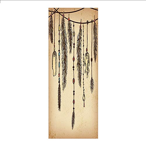 (3D Decorative Film Privacy Window Film No Glue,Tribal,Bohemian Ethnic Hair Accessories with Bird Feathers Beads on String Sketch Digital Print,Brown,for Home&Office)
