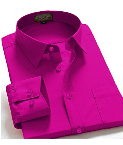 Guytalk Mens Solid Color Regular Fit long sleev Dress - Color Magenta Shirt