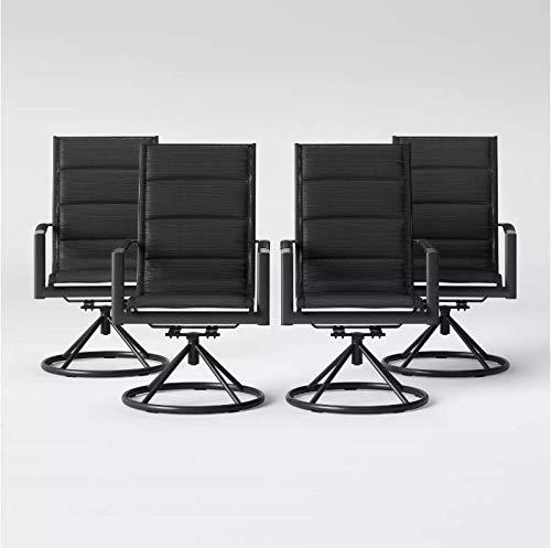 Project 62 Sleek and Stylish Avalon 4pcs Sling Swivel Rocker Patio Dining Chair Black