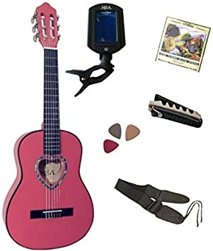 Pack Guitare Classique 1/4 Rose 5 Accessoires Pour Enfant