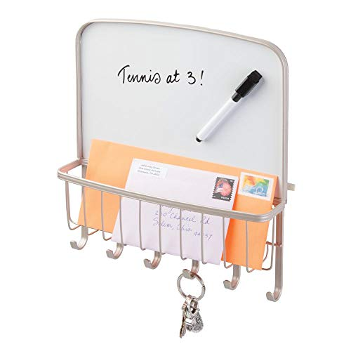 mDesign Metal Wall Mount Entryway Storage Organizer Mail Basket with Dry Erase Board, 6 Hooks - Holder for Letters, Magazines, Keys, Coats, Leashes - Strong Steel Wire Design - Satin