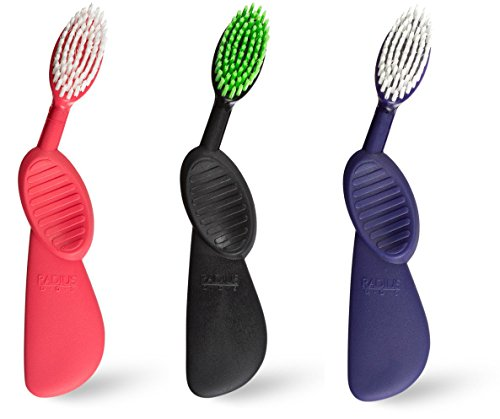 """Radius Scuba Toothbrush (Pack of 3) with Supersized Brush Head and """"Flex-Neck"""" Technology (Right-Handed, Colors May Vary) (Twist Radius)"""