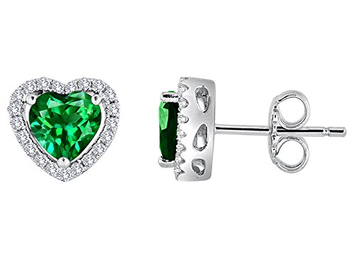 Star K Heart Shape Simulated Emerald Halo Earring Studs Sterling Silver ()