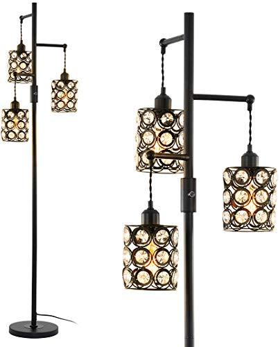 Stepeak Vintage Floor Lamp – Industrial Crystal & Glass...