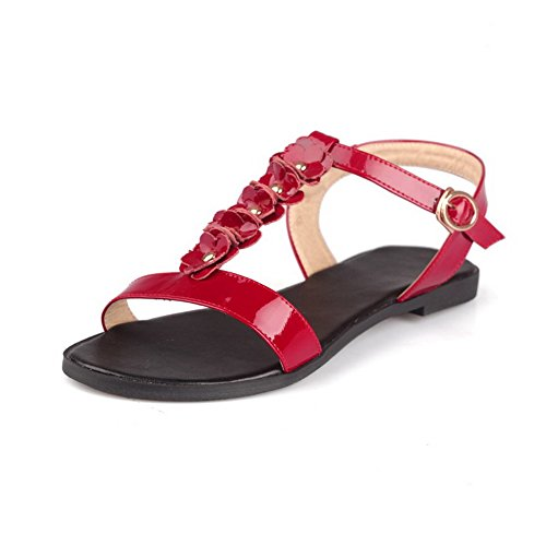 AllhqFashion Womens Patent Leather Buckle Open Toe No-Heel Solid Flats-Sandals Red eiWyy