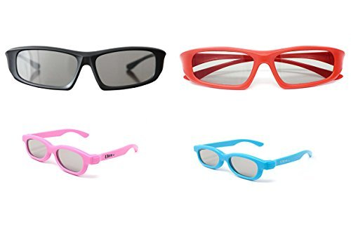 Bush Tv Review (Ultra Family pack of 4 Pairs of Universal Passive 3D Glasses for all TV and cinema including RealD 2 Adults red and black and 2 kids in pink and blue)