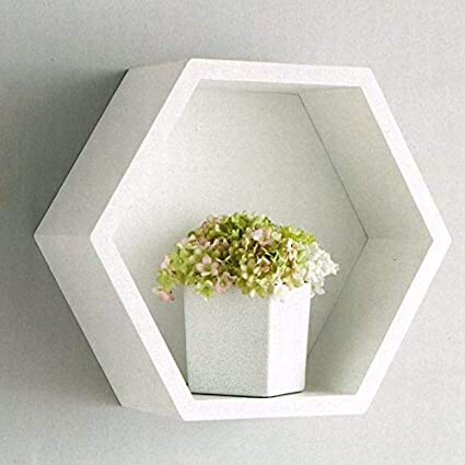 check out f21ae 276c6 Bjorn White Hexagon Floating Box Shelf