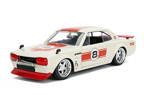 1971 Nissan Skyline GT-R #8 Red/Cream (KPGC10) JDM Tuners 1/24 Diecast Model Car by Jada ()
