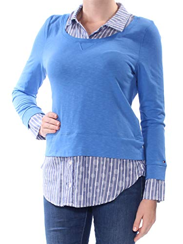 (Tommy Hilfiger Womens Layered Collared Blouse Blue S)