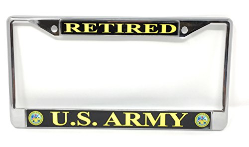 U.S. Army Retired Chrome License Plate - Plate Retired License Army