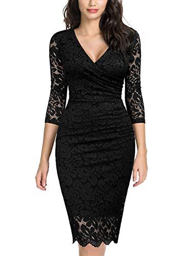 Miusol Women's Deep-V Neck Ruffles Floral Lace Fitted Retro Evening Pencil Dress (Large, D-Black)