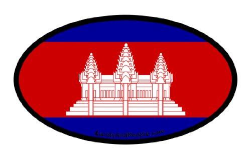 (Cambodia Kampuchea Flag Car Bumper Sticker Decal Oval)
