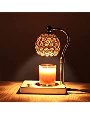 Candle Warmer Lamp,Crystal Lampshade Candle Lamp Warmer, Electric Candle Wax Warmer, No Flame Candle Lamp Adjustable Height and Brightness Warmer Lamp for Bedroom Decor