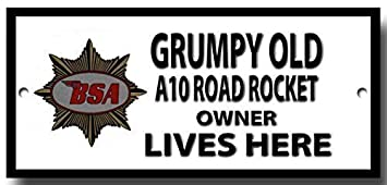 109H2 SHAWPRINT Grumpy Old ROYAL ENFIELD CONTINENTAL Owner Lives Here metal sign//plaque funny