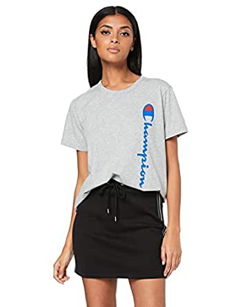 Champion Women's Sporty Cropped Tee, Oxford Heather/Black, X-Small