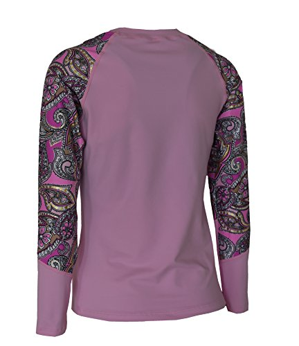 Private Island Hawaii Women UV Wetsuits Long Raglan Sleeve Rash Guard Top Pink with Pink Gold Spot XX-Large by Private Island Hawaii (Image #4)