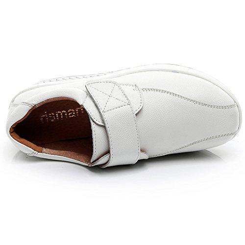Rismart Womens Hook & Loop Wedge Comfortabele Schattige Suèdeleren Sneakers Schoenen Wit