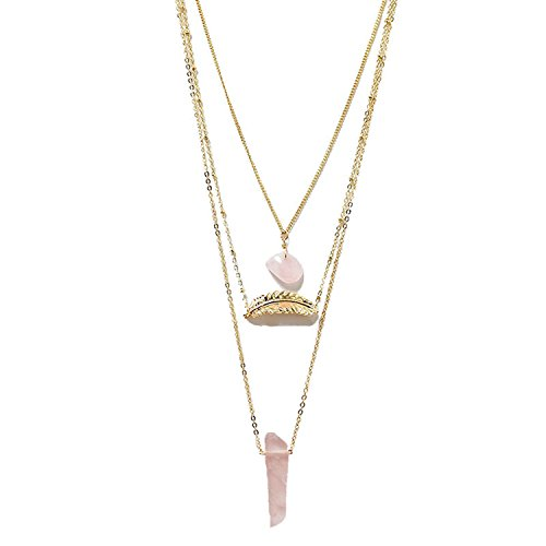 Injoy Jewelry Synthetic Rose Quartz Multilayer Chain Necklace Gemstone Leaf Pendant Necklace for Women Girls Rose Quartz Leaf