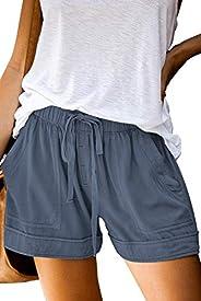 Kyerivs Pantalones cortos casuales de verano para mujer, cintura elástica, cómodos, de color sólido, cortos de