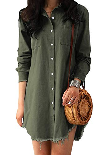 8e315adc Gueuusu Women Long Sleeve Tunic Dress Denim with Pockets | Weshop ...