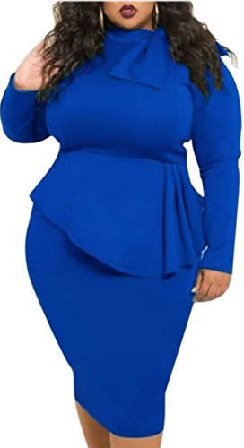 2 Neck Color Pencil Solid Long Sleeved Dress Round Jaycargogo Women Bow 47vxWXw