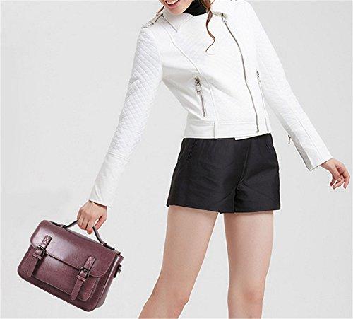 Xinmaoyuan Mujer bolsos de cuero Bolsos de cuero Retro señoras bolso de hombro, marrón Violeta