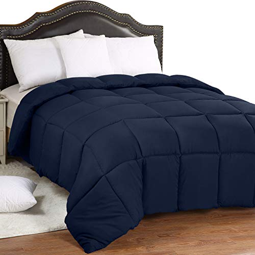 Utopia Bedding All Season 250 GSM Comforter - Soft Down Alternative Comforter - Plush Siliconized Fiberfill Duvet Insert - Box Stitched (Full/Queen, Navy)