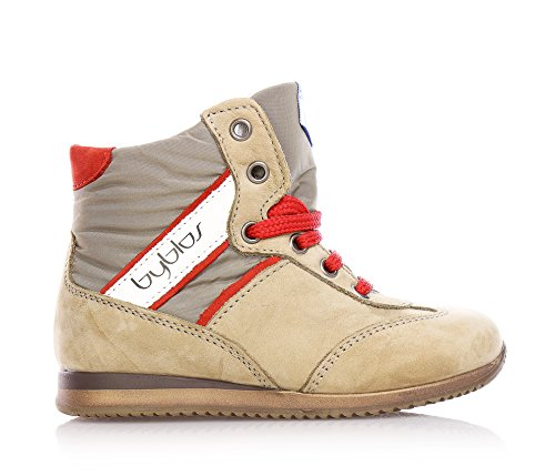 BYBLOS - Beige Schuh mit Schnürsenkeln, aus Wildleder und Stoff, einfaches und gleichzeitig elegantes Design, seitlich ein Reißverschluss, Jungen