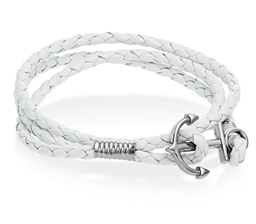 Anchor Braided Double Leather Wristband