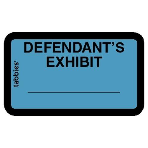 """Legal Exhibit Labels, """"Defendant"""", 1-5/8""""x1"""",252/PK,Blue"""