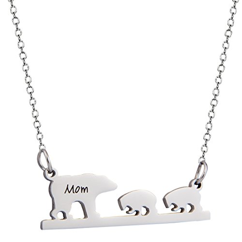 Gzrlyf Personalized Name Bar,Mom Bear Bar Pendant Necklace Jewelry For Mather (three bears)