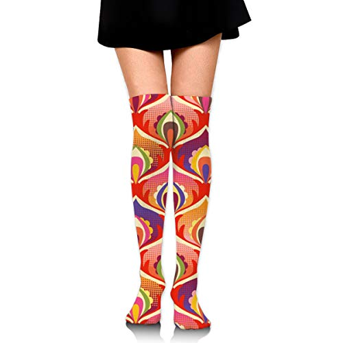 1960 Flower Power Hippie Floral Fashion Over The Knee High Warmer Stockings 65cm(25.59in) Sports Compression Socks -