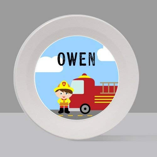 Firefighter Boy 1 Melamine Bowl or Plate Custom Personalized with Childs Name