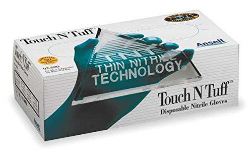 Disposable Gloves, Nitrile, L, Teal, PK100 by R3 Safety (Image #1)