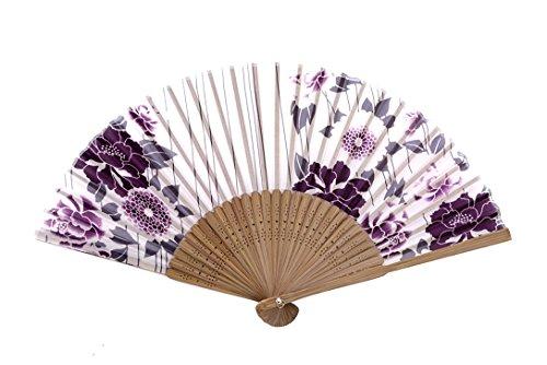 ASAO Hand Made Artisan Women's Silk Sensu Folding Fan (Peony and Daisy Red)