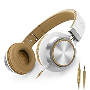 AILIHEN C8 Headphones with Microphone and Volume Control Folding Lightweight Headset for iPad iPhone iPod Tablets Smartphones Laptop Computer PC Mp3/4 (White/Brown)