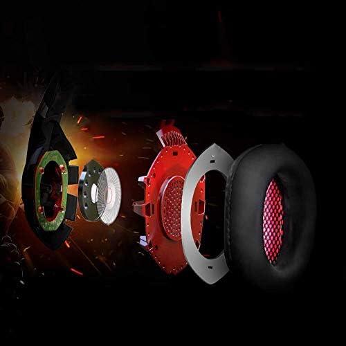 HNSYDS ゲーミングヘッドセットヘッドセット 小麦デュアルオーディオステレオヘッドフォン付きの調整可能 ゲーミングヘッドセット (Color : Blackred)