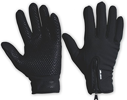 Mountain Made Cold Weather Gloves for Men and Women 2.0 with NEW UPGRADED ZIPPPERS,black,large