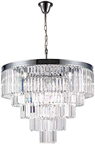 Luxury Modern Crystal Chandeliers Lighting Ceiling Lamp Lights Fixture With 5 Tiers for Dining Room, Living Room 12 Lights Chrome