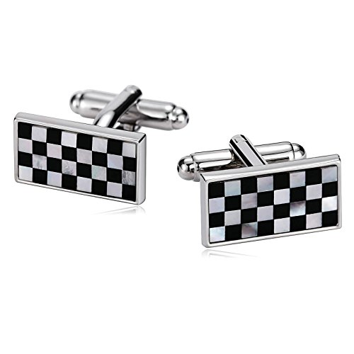 Epinki Men Stainless Steel Chequer Design Mother of Pearl Rectangle Black White Cufflinks for Wedding
