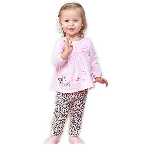 LittleSpring Baby Girls Outfits Long Sleeve Butterfly T-Shirt and Pants Set Size 24M