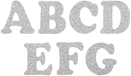39 Pieces Silver Glitter Darice Chipboard Letters 2 inches